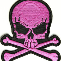 Pink Skull And Cross Bones Embroidered Biker Patch