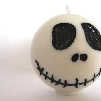 Jack Skellington's head shaped candle / Halloween & Christmas Candle / Spiced apple scent / Burton's Nightmare Before Christmas / Home decor