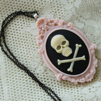 Pastel Goth Skull Necklace - Fairy Kei, Sweet Lolita