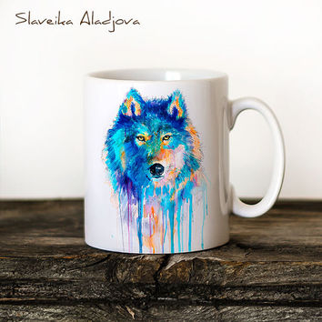 Wolf Mug Watercolor Ceramic Mug Unique Gift Coffee Mug Animal Mug Tea Cup Art Illustration Cool Kitchen Art Printed mug