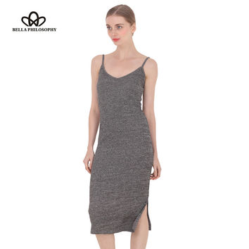 spring summer autumn new women's side split V-neck Slim knitted cami dress cotton highly stretchy 9 colors gray wine red
