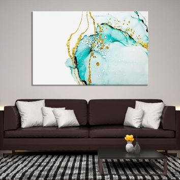 13073 - Blue Abstract Watercolor Art | Ink Painting Art | Impressionism Art | Creative Wall Art | Abstract Wall Art | Large Abstract Canvas