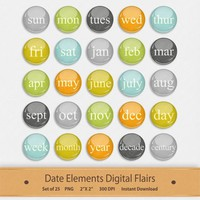 Date Elements Digital Flairs Clipart Day Month Week Year Scrapbook Buttons Brads Badge Graphics Elements Embellishments Memory Keeping