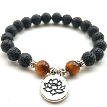 DIEZI Fashion Men Lotus Buddha Lava Black Stone Bracelets & Bangles Tiger Eyes Beads Pray Mala Strand Bracelet For Women Jewelry