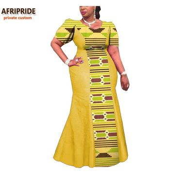 2018 african dress for women AFRIPRIDE private custom short sleeve ankle-length traditional women dress 100% pure cotton