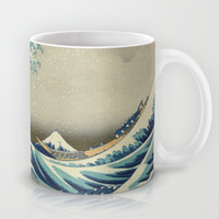 Great Wave Off Kanagawa. Japanese vintage landscape oil painting art. Mug by ArtsCollection