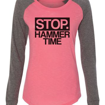 "Womens ""Stop Hammer Time"" Long Sleeve Elbow Patch Contrast Shirt"