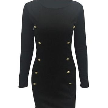 Black Double-Breasted Bodycon Women's Long Sleeve Dress