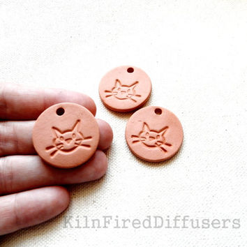 Ceramic Cat Pendant, Aromatherapy Essential Scented Oil Diffuser, Round Terracotta Bisque Ceramics Unglazed,
