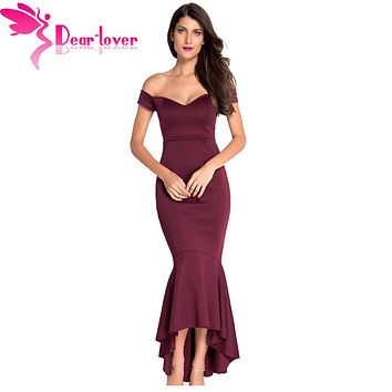 Dear-Lover Vestidos De Festa party night club dresses Navy Off-shoulder Mermaid Jersey Dress Formal Gowns roupa feminina LC60171