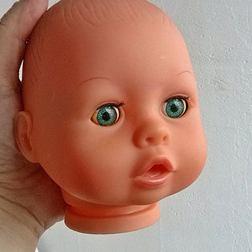 Vintage Bayer baby head Rubber doll puppet parts Chubby doll heads Assemblage altered Children toys Recreate transform Repurpose reclaim