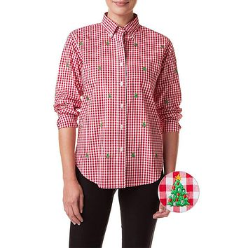 Ladies Gingham Button Down Shirt with Embroidered Christmas Trees by Castaway Clothing