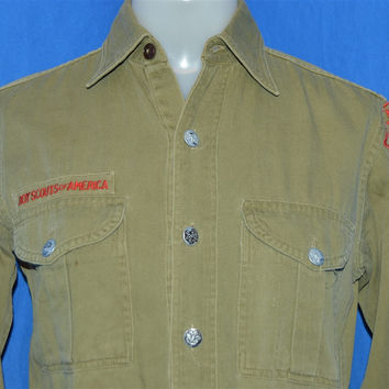 40s Boy Scouts of America Metal Button Uniform Shirt Small
