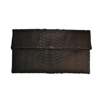 ALLEGRA LONDON Black Hand-Crafted Python Leather Clutch