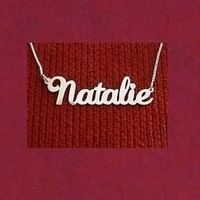 Custom Name Necklace Personalized Name Necklace, Sterling Silver, Double Thick Nameplate