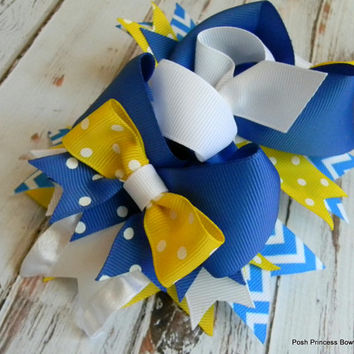 Girls Hair Bow, Blue, White, Yellow Chevron boutique hair bow, girls, baby, toddler, hair accessory, stacked hair bows,