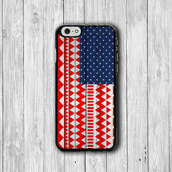 Aztec USA Flag Wooden Vintage iPhone 6 Cover, American Wood Red iPhone 6 Plus, iPhone 5S, iPhone 4S Hard Case, Rubber Cover Accessories Gift