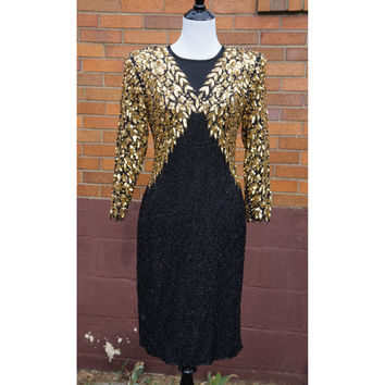80s Sequin and Silk Cocktail Dress, Black and Gold, Keyhole opening, Tinkerbell sleeves, Cocktail, Party, Prom, Formal, Mother of Bride