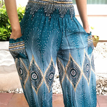 Yoga Pants Peacock Harem Boho Printed Beggy Casual Elastic Fisherman Native Hippie Massage Rayon pants Gypsy Thai Handmade Dress Clothes