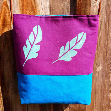 Bohemian Style | Purple and blue Linen Tote bag | Leaf | Festival accessorie | Sister gift | Boho birthday gift for her | Bohemian wedding