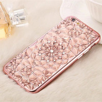 2017New Luxury 3D Electroplating Flowers Rhinestone Bling Soft TPU Phone Cases Cover For iPhone 7 7Plus 5 5G 5S SE 6 6G 6S 4.7 6Plus -0328