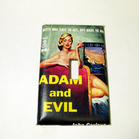 Light Switch Cover - Light Switch Plate Vintage Pulp Pin Up Girl Adam and Evil