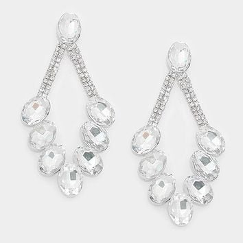 Oval Crystal Rhinestone Pave Statement Evening Earrings