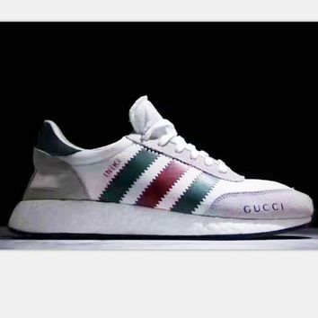 Adidas Retro Iniki GUCCI Runner Boost sports shoes light gray-green red line H-PSXY