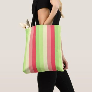 Watermelon Stripes Design All-Over-Print Tote Bag