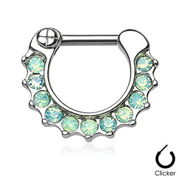 Opalites Paved Surgical Steel Septum Clicker Ring 14g - Choose Clear, Green, or Pink Opal (Green)