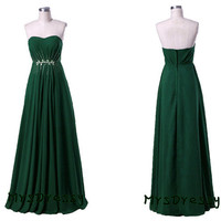 Hunter Green Long Prom Dress For Formal Party, Sweetheart Strapless Floor Length Evening Gown MD023