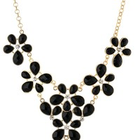 """All Opaque Teardrop Jet Flower Y-Shaped Statement Necklace, 18"""""""