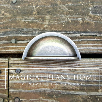 Rustic Country Farmhouse Furniture Hardware Weathered Nickel Drawer Pulls Distressed Silver Bin Pulls Cabinet Cup Pulls Dresser Hardware