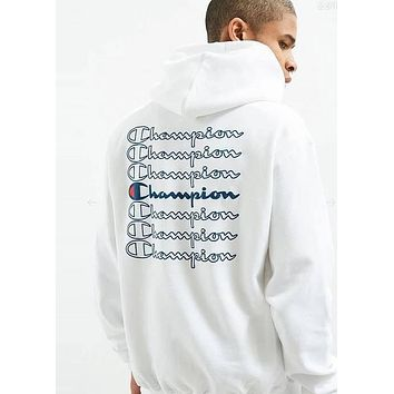 Champion Popular Women Men Comfortable Long Sleeve Hooded Embroidery Print Sweater Top Sweatshirt(4-Color) White I-CP-ZDL-YXC