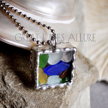 Beach Glass Pendant, Soldered Glass Pendant, Beach Glass Jewelry, Soldered Necklace, Colorful Mosaic Pendant, Lake Michigan Beach Glass
