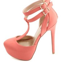 D'Orsay T-Strap Platform Pumps by Charlotte Russe - Coral