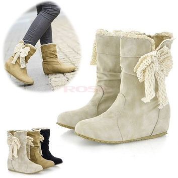 Women's  Warm Comfortable Beige Snow Boots Flat Heel Casual Lace Short Boots  9302 Women's shoes = 1645431684