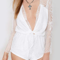 White V-Neck Cut Out Lace Romper