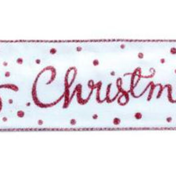 "6 Christmas Ribbon -  "" Merry Christmas """