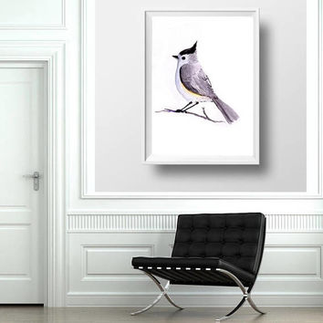 Titmouse grey color bird watercolor painting cute little bird girl boy kid nursery decor print simple hand painted wall art from original