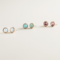 Gold Swarovski Trio Stud Earrings - World Market