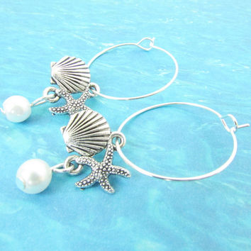 Shell Hoop Earrings with Starfish