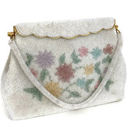 1940's White and Pastel Colored Beaded Wedding Evening Bag