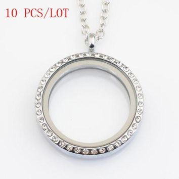 ac spbest 10 PCS/LOT 30mm round magnetic floating locket with rhinestone, with free 50-55cm chain FN0005