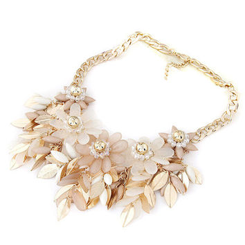 Khaki Beaded Floral And Leaves Ornate Necklace