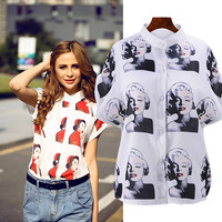 Marilyn Monroe Print Short-Sleeve Button Shirt