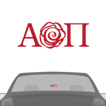 AOII Alpha Omicron Pi Rose Letters Car Laptop Dorm Window Vinyl Sorority Decal Sticker