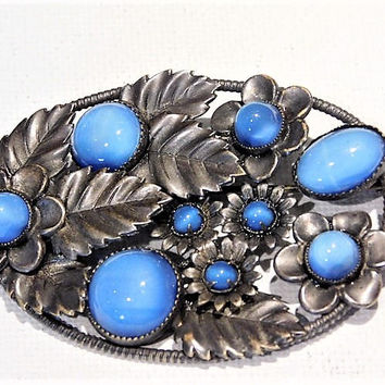 Edwardian Czech Glass Brooch Signed CZECHOSLOVAKIA Blue Moonstone Art Nouveau Deco Fashion Jewelry Antique Sash Pin Wedding Bride Bridal