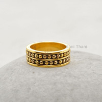 Designer Handmade Band Ring - Wedding Ring Jewelry - Micron Gold Plated 925 Sterling Silver Band Ring Jewelry - #6023