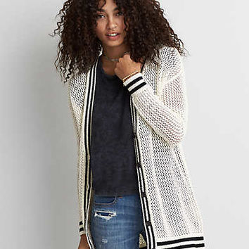 AEO Tipped Mesh Cardigan , Cream
